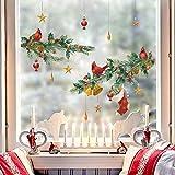 decalmile Pegatinas de Pared Navidad Puerta Vinilos Decorativos Navidad Cardenal Aves Piñas Adhesivos Pared Ventanas Puerta Tienda Escaparate Navidad Decoración