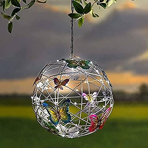 BAYAA Mariposa Solar Colgante LED Jardín Exterior Globo Linterna Luz Luces Decorativas Al Aire Libre Luces Solares Colgantes para Pasarela Patio Patio Césped Decoración 2 Piezas