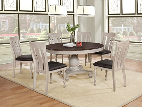 Roundhill Furniture Arch Solid Wood Dining Set: Round Table, Six Chairs, Distressed White and Dark Oak