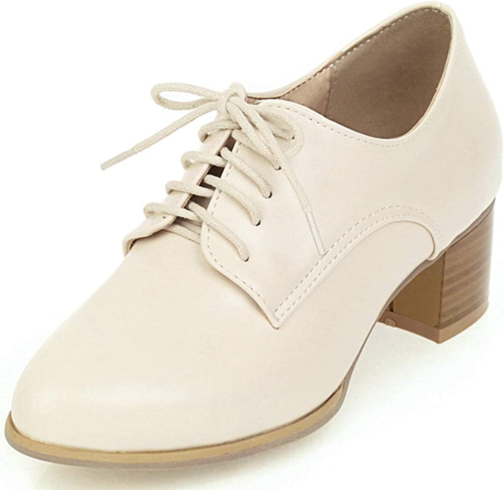 SaraIris Women Chunky Mid Heel Lace Selling and selling Oxfor Brogue up Casual Over item handling Shoes