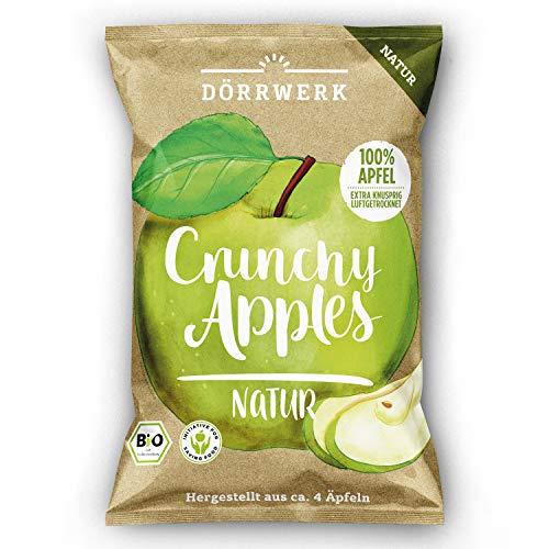 Bio Apfelchips Natur I 4 x 40g I Bio Chips aus getrockneten Äpfeln I Fruchtchips für Zwischendurch I Knusprig getrocknete Äpfel I 100% natürliches Trockenobst I DÖRRWERK