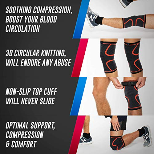 MODVEL 2 Pack Knee Compression Sleeve   Knee Brace for Men & Women   Knee Support for Running, Basketball, Weightlifting, Gym, Workout, Sports - PLEASE CHECK SIZING CHART