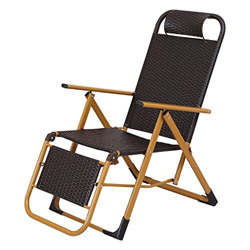 ZDYHQ Wicker stoel klapstoel ligstoel recreatieve dutstoel terug 9 hoeken kan worden aangepast