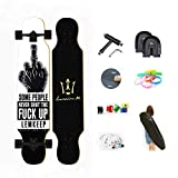 WRISCG Longboard Tabla Completa, Drop-Through Freeride Skate Cruiser Boards, Rodamientos de Bolas ABEC Alta velicidad, 8 Capas Flexible de Arce, 25x108cm Longboard Skateboard,B
