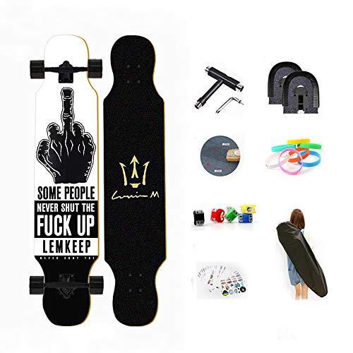 WRISCG Longboard Skateboard Drop Through Cruiser Komplettboard, High Speed ABEC Kugellagern, 8-lagiger Ahorn, Drop-Through Freeride Skaten Cruiser Boards Mit Skateboard Rucksack,B