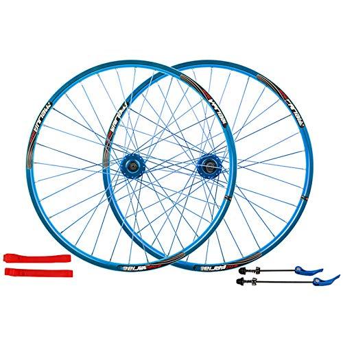 Juego De Ruedas De Bicicleta De Montaña 26 Pulgadas, Aleación De Aluminio De Doble Pared Ruedas Freno De Disco Juego De Ruedas De Bicicleta MTB Liberación Rápida 7/8/9/10 Velocidad,Azul