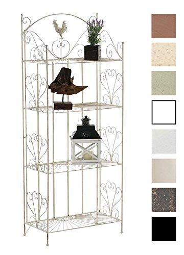 CLP Standregal MIA aus Eisen I Klappregal mit 4 Ablagefächern im Landhausstil I erhältlich, Farbe:antik-Creme