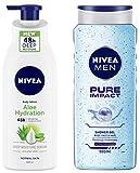 NIVEA Body Lotion, Aloe Hydration, For Normal Skin, 400ml And NIVEA Men Pure Impact Shower Gel, 500ml, Hair, Face & Body Wash