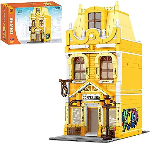 Bloques de construcción de Arquitectura Modelo 1295 + PCS Europe Europe Street Cafe Casa adosada Edificios modulares compatibles con Lego Creator Expert