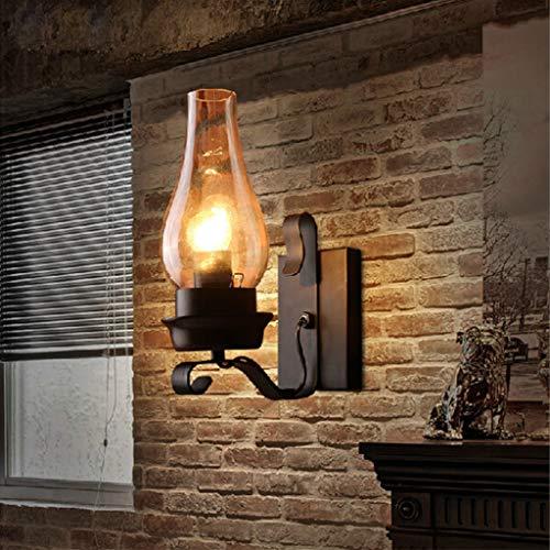 Retro Wandleuchte Vintage Industrie Schwarz Wandlampe Mit Klarer Glas Schornstein Schatten E27 Sockel-Lampe Innen Für Dachboden Terrasse Restaurant Café Wohnzimmer Und Studie Licht