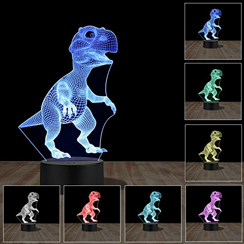3D Illusion Lamp Dinosaur LED Night Light, Accmor 7 Colors Changing LED Desk Lamp Touch Control for Bedroom, Boys, Children, Kids, Sports Fan Christmas Gift