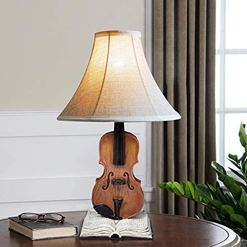 Lámpara de mesa de violín creativa Lámpara de escritorio de resina Luz de tela Pantalla Lámpara de mesita de noche Aprendizaje clásico europeo Interruptor de botón de iluminación de escritorio decorat