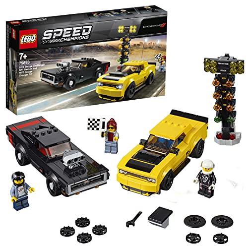 LEGO 75893 Speed Champions Dodge Challenger SRT Demon de 2018 y Dodge Charger R/T de 1970, Juguete de Construcción