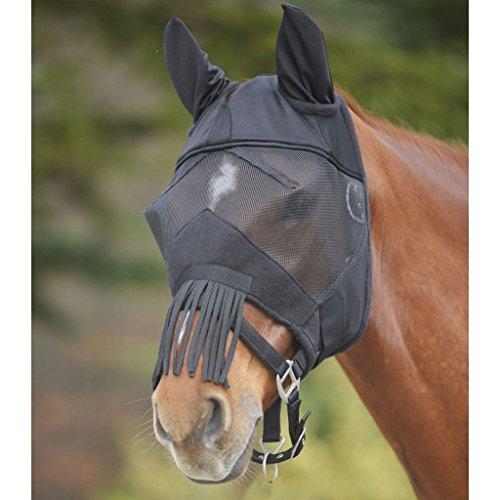 WALDHAUSEN Fliegenmaske Premium mit Ohrenschutz und Nasenfransen, schwarz, Warmblut