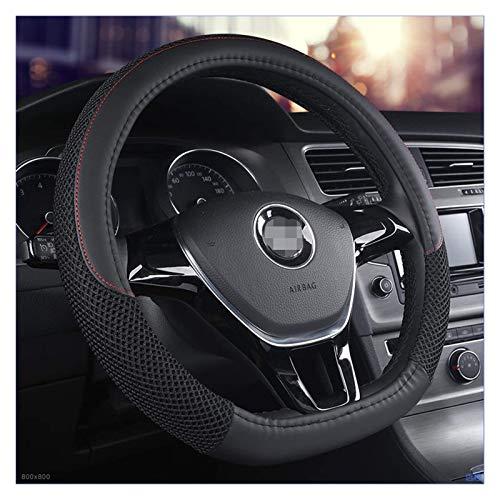Serie D de microfibra de cuero para volante de coche, fundas de volante de 38 cm/15 pulgadas para VW Golf 7 2015 Polo JATTA (negro)