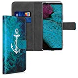 kwmobile Hülle kompatibel mit Sony Xperia 10 II - Kunstleder Wallet Hülle mit Kartenfächern Stand Anker Landkarte Weiß Blau