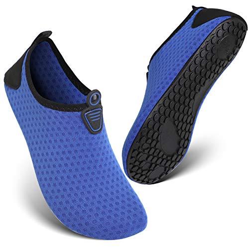 HEETA Barefoot Water Sports Shoes for Women Men Quick Dry Aqua Socks for Beach Pool Swim Yoga Dot_Deep Blue XXXL