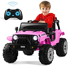 ANPABO 12V Electric Cars for Kids, Electric Vehicle Ride On Truck with Remote Control, Swing Function, Single Seat, Double Lockable Doors, Spring Suspension, LED Lights, MP3 Music Player Pink
