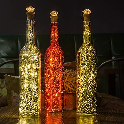 Flaschen-Licht, HUAFA Weinflaschen Lichter (Gold&Rot&Silber Flasche), USB Wiederaufladbar, LED Nacht Licht Flaschenbeleuchtung Romantische Deko, Zimmer Dekoration, bar Dekoration