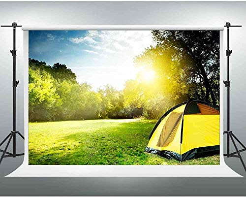 HD Backdrop 7X5ft Sunrise Meadow Tent Outdoor Camping Photography Background Themed Party You Tube Backdrops Video Studio Props PGGE099