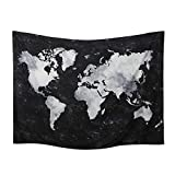 World Map Tapestry Wall Hanging Watercolor Art Decor Abstract Dorm Large Vintage Geography Earth Globe Tapestries Hangings (Black and White, 59.1ʺ × 76.7ʺ)
