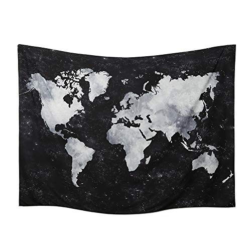 World Map Tapestry Wall Hanging Watercolor Art Decor Abstract Dorm Large Vintage Geography Earth Globe Tapestries Hangings (Black and White, 59.1  76.7)