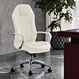 Modern Ergonomic Sterling Genuine Leather Executive Chair with Aluminum Base - Cream