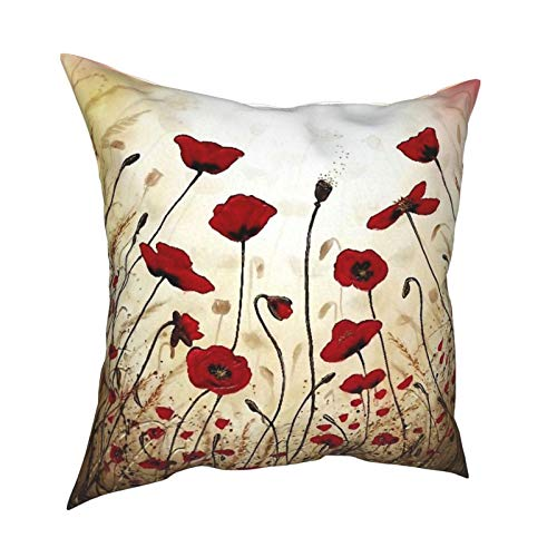 Kgblfd 3D Print Throw Pillow Cover Case,Red Poppies On The Field In The Sky,Modern Pillowcase for Sofa Couch Bed Car Set Home Decor 18'x 18' in Pillowcase Cushion Covers Zipper 2pcs