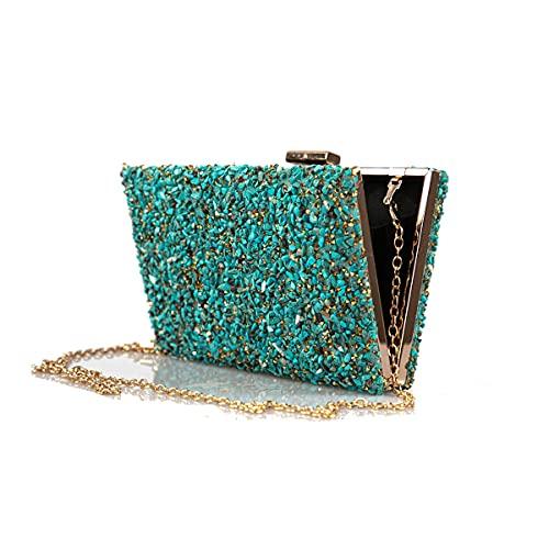 Complementos La Monsita Bolso de fiesta mujer, bolso cartera azul turquesa con cadena
