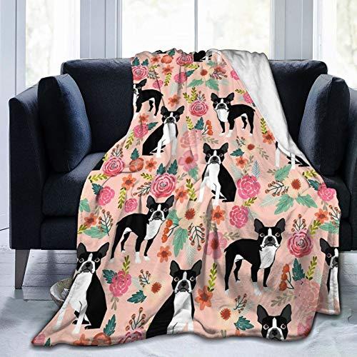 Boston Terrier – Manta para perro, mascota, cachorro, vintage, floral, para cama, sofá, forro polar, ligera, suave, cálida, acogedora, viajes, camping, aire acondicionado, colcha para niños y adultos
