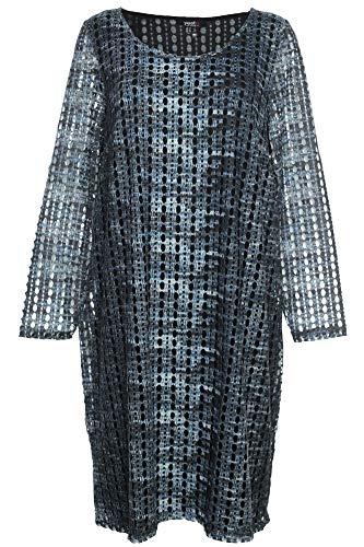 X-Two Yesta by Midi Kleid Tunika Dress Shirt Langarm Damen Lagenlook, Farbe:blau, Damengrößen:44