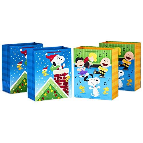 "Hallmark Peanuts Set (4 Large 13"", 2 Designs) Snoopy & Woodstock Christmas Gift Bag Bundle, Charlie Brown and Friends Dancing"