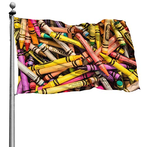 Seasonal Flag for Outdoors, Colorful Crayon Yard Flags | Durable, Polyester, 4X6 Ft