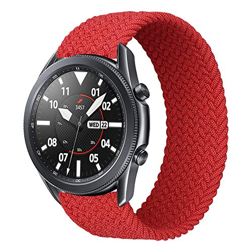 iBazal 22mm Correa Galaxy Watch 46mm Pulsera Nylon Banda Trenzada Lazo Individual Repuesto para Samsung Galaxy Watch 3 45mm/Gear S3 Frontier Classic, Huawei Watch GT/GT 2 46mm - 10 Rojo