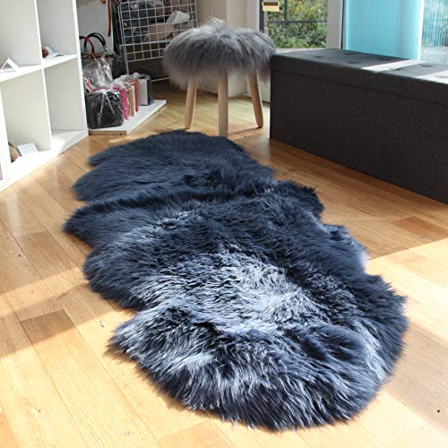 Navy Blue Sheepskin Rug | Genuine | Extra Thick and Soft Wool | by Rughouse (Double...