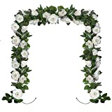 Huryfox 2 Pack Flower Garland Artificial White Rose Garlands Flowers Vine Fake Floral Vines Valentine Decorations for Wall Birthday Party Wedding Room Decor, (15 FT)