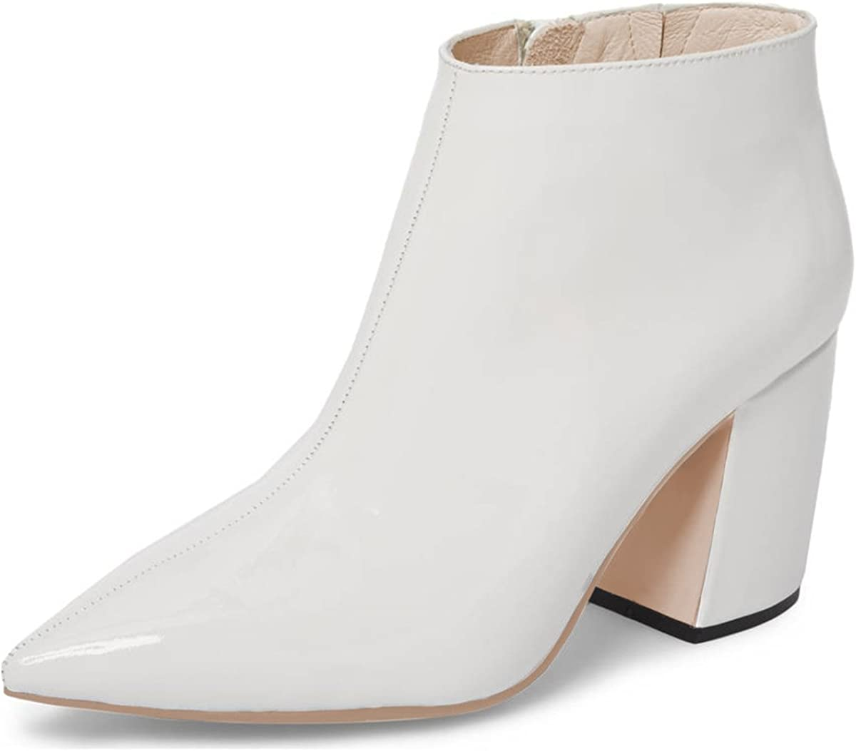 XYD Women Memphis Mall Vegan Leather Pointed Toe Portland Mall Heel Ankle Zippe Boots Block