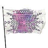 'N/A' Bandera tribal azteca patrón acuarela borrosa folk jardín bandera 3x5 pies con ojales de latón casa mosca interior al aire libre casa barco yate decoración coche