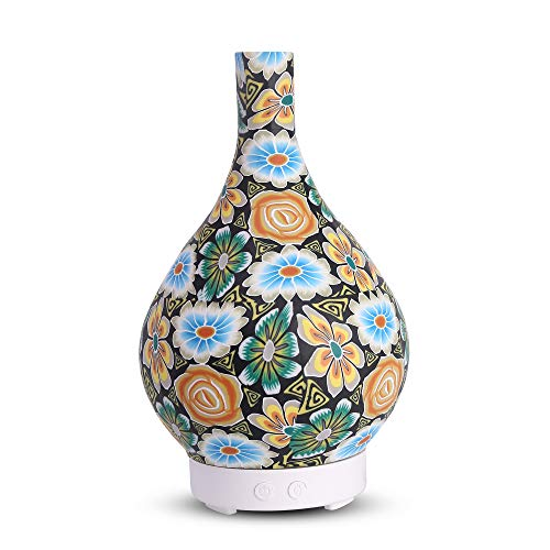 kobodon Essential Oil Diffuser, 150ml Diffuser-vase Humidifier for Longer Mist Ultrasonic Cool Mist Aromatherapy with 8 Changing Colored LED Lights, Auto Shut-Off, and Adjustable Mist Modes for Home