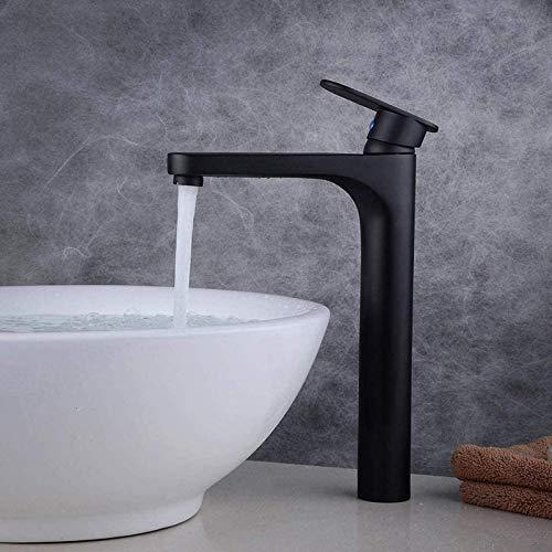 Fashio Grifos de Agua Grifo para Lavabo de baño Grifo de latón de Alta duración Mezclador Monomando, mezcladores de Agua fría y Negro Mate Caliente