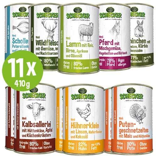 Schecker 11 x Hundemenü Dosen 410g (11-er 410g) Kräftige, vielseitige und gesunde Mahlzeiten für alle Hunde