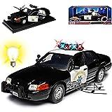 Motormax Ford Crown Victoria California Highway Patrol Police Polizei mit Licht und Sound 1/18 Modell Auto -
