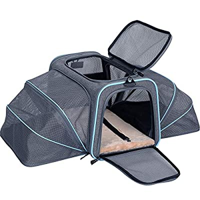 """Petsfit Cat Carrier Expandable Dog Carrier for Medium Dogs, Expandable Pet Carrier Most Airline Approved, Two Side Expasion, Easy Carry on Luggage with Fleece Mat (Grey and Blue Trim) 18""""x11""""x11"""""""