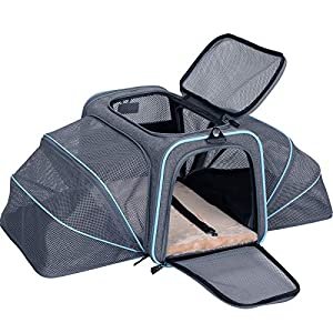 Petsfit Expandable Large Cat Carrier Small Dog Carriers, Airline Approved Soft-Sided Portable Washable Pet Travel Carrier with Two Extension for Kittens,Puppies,Rabbits