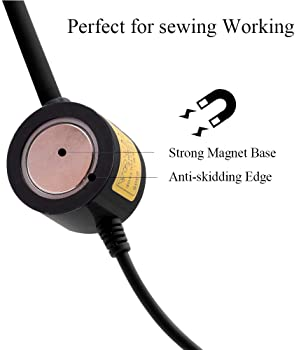 LED Sewing Machine Light,POWKER 30 LED Magnetic Mount Drill Press Light with Flexible Silone Coating Gooseneck for Se...