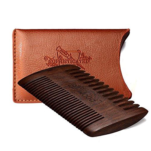 BFWood Pettine Tascabile per Barba e Baffi - Pettine di legno di ebano con il caso di cuoio
