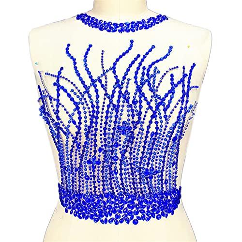 YUNSI Hecho a Mano Plateado Rojo Azul Cosido en los Parches de Diamantes de imitación los Apliques for el diseño del corpiño de la Boda Adorno de decoración de la Cintura (Color : Blue)