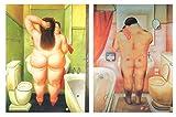 Cuadros de baño Botero sobre Madera/Placas Madera. Set de 2 Cuadros de 19 cm x 25 cm x 4 mm unid. Adhesivo FÁCIL COLGADO. Adorno Decorativo. Decoración Pared hogar