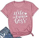 Women Wife Mom Boss T Shirt Women Funny Short Sleeve Top (X-Large, As Show)