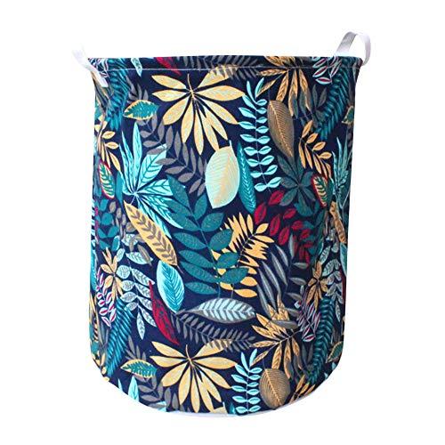 ZXXFR canvas wasmand, plant gekleurde bladeren vouwen wasmand kleding opslag schop cartoon opslag vat staan wasgoedservice organizer houder tas